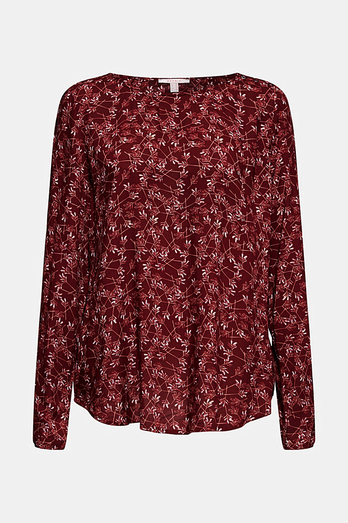 Print blouse top with LENZING™ ECOVERO™, NEW GARNET RED, detail image number 5