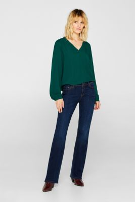 Henley blouse with texture, BOTTLE GREEN, detail