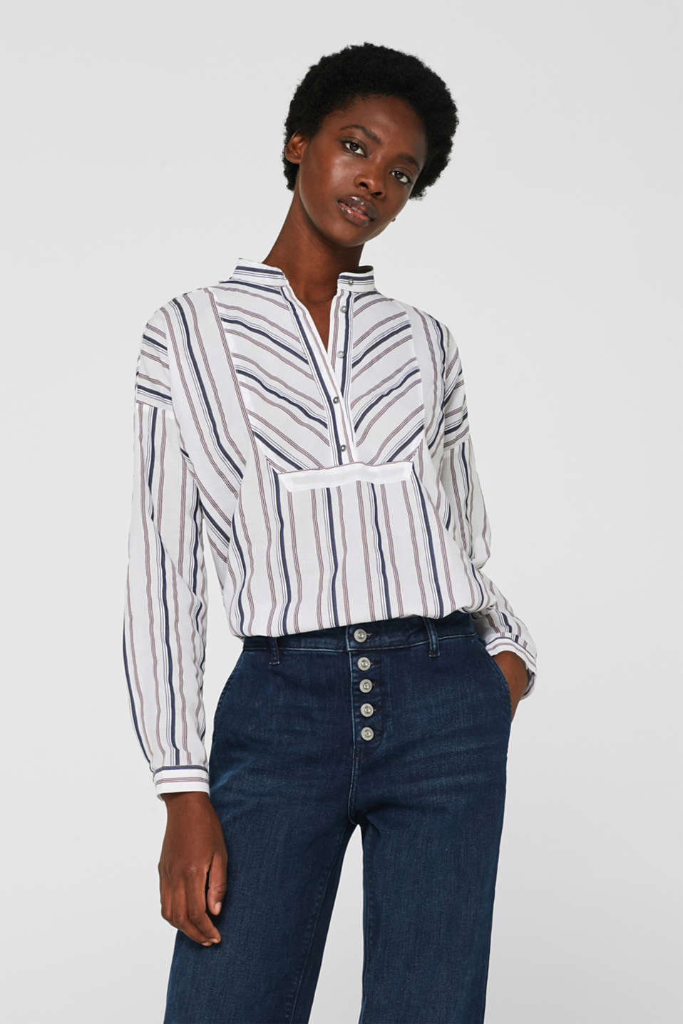 Esprit - Striped blouse with a stand-up collar