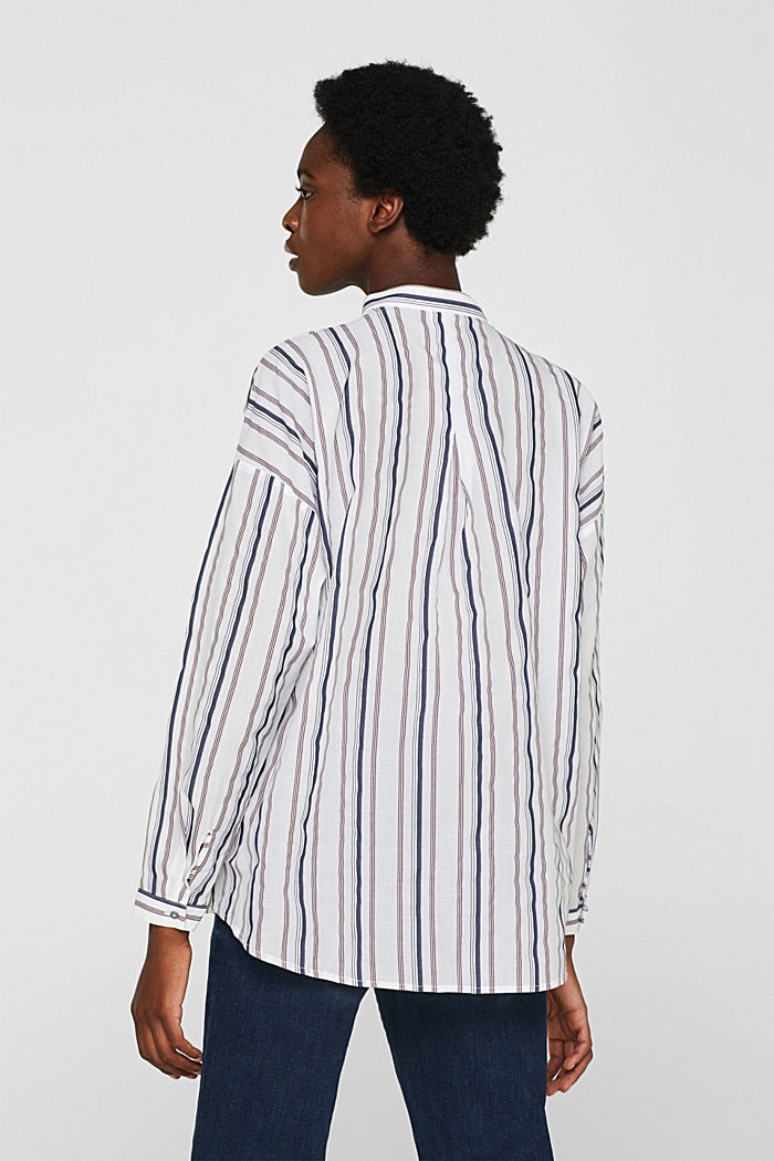 Striped blouse with a stand-up collar, WHITE, detail image number 3