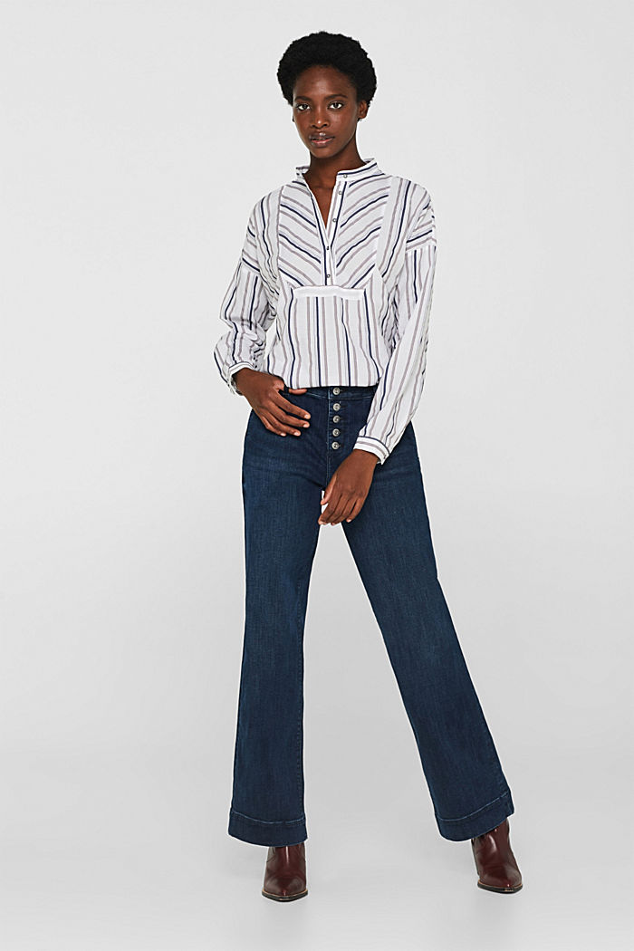 Striped blouse with a stand-up collar, WHITE, detail image number 1