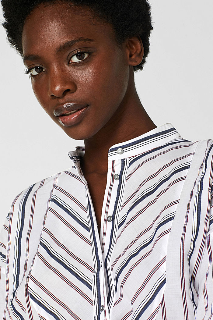 Striped blouse with a stand-up collar, WHITE, detail image number 2