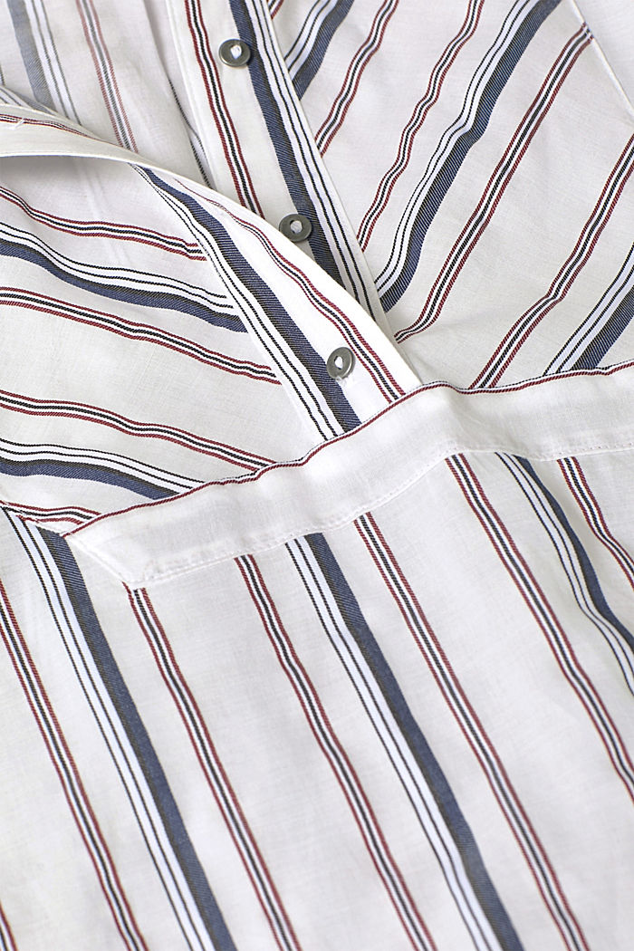 Striped blouse with a stand-up collar, WHITE, detail image number 4