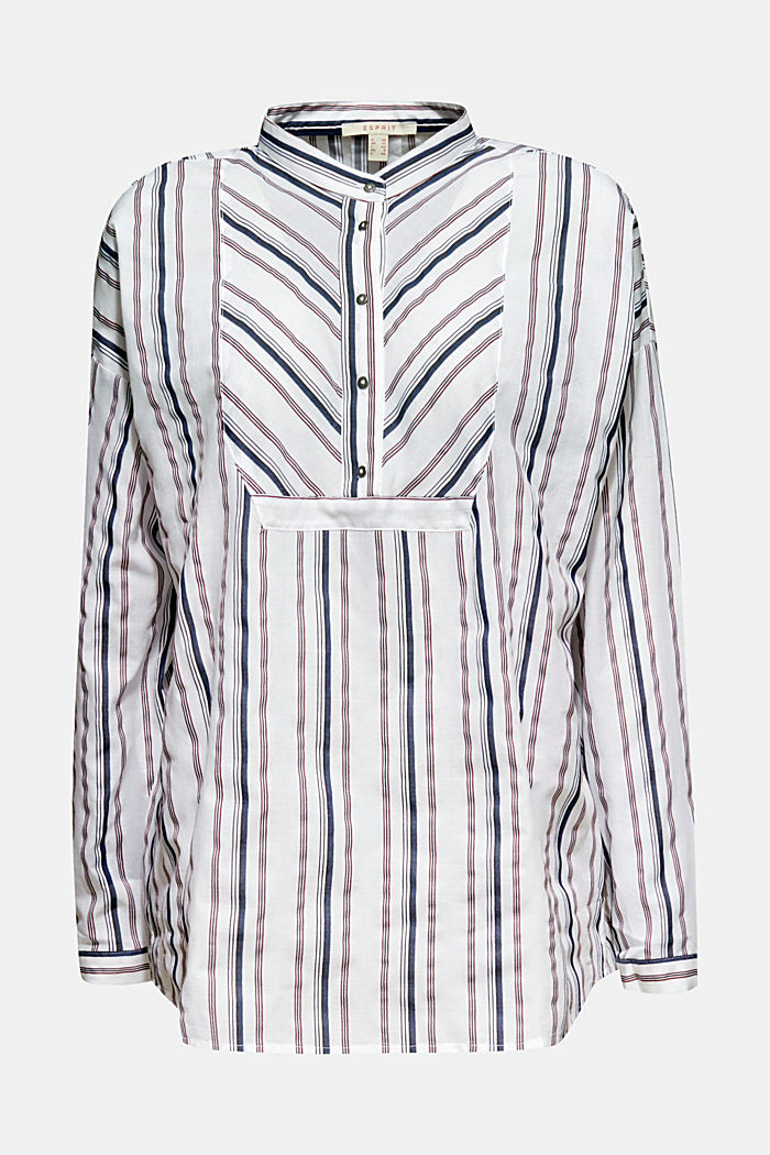 Striped blouse with a stand-up collar, WHITE, detail image number 0