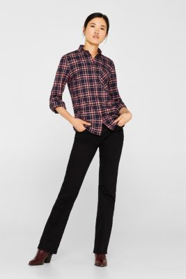 Checked flannel blouse, GARNET RED, detail
