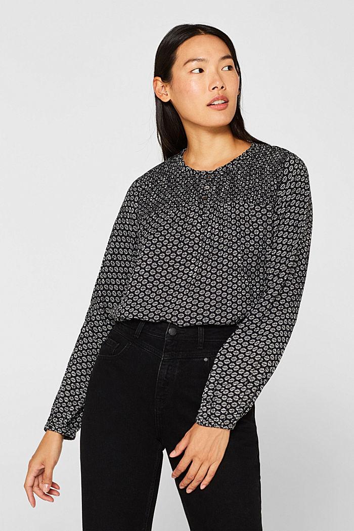 Patterned crinkle blouse, BLACK, detail image number 0