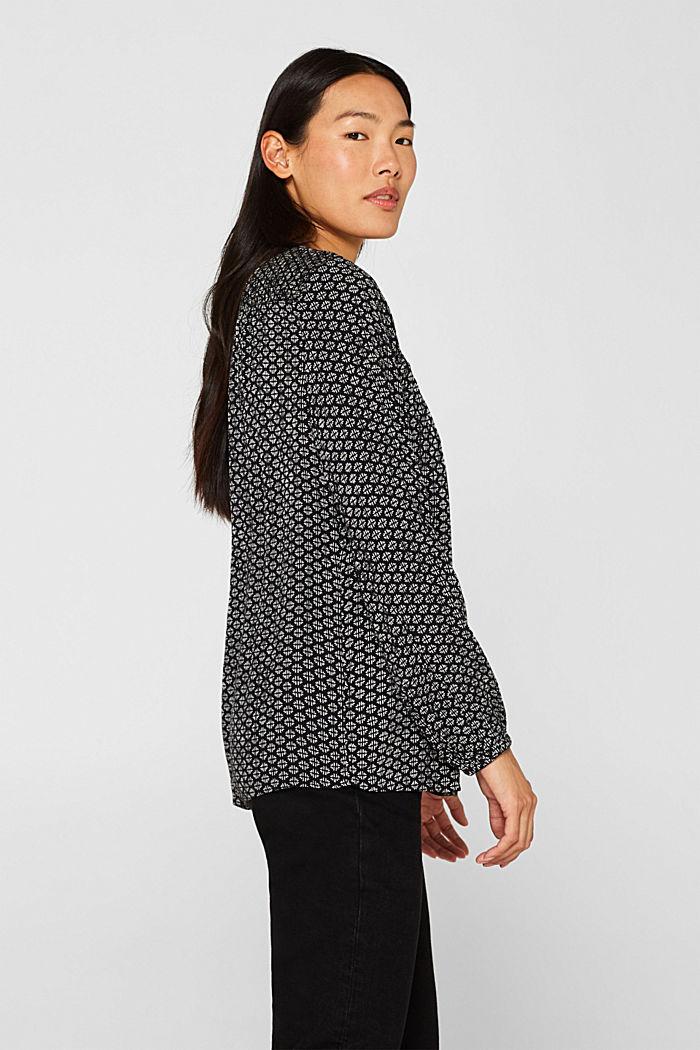 Patterned crinkle blouse, BLACK, detail image number 4