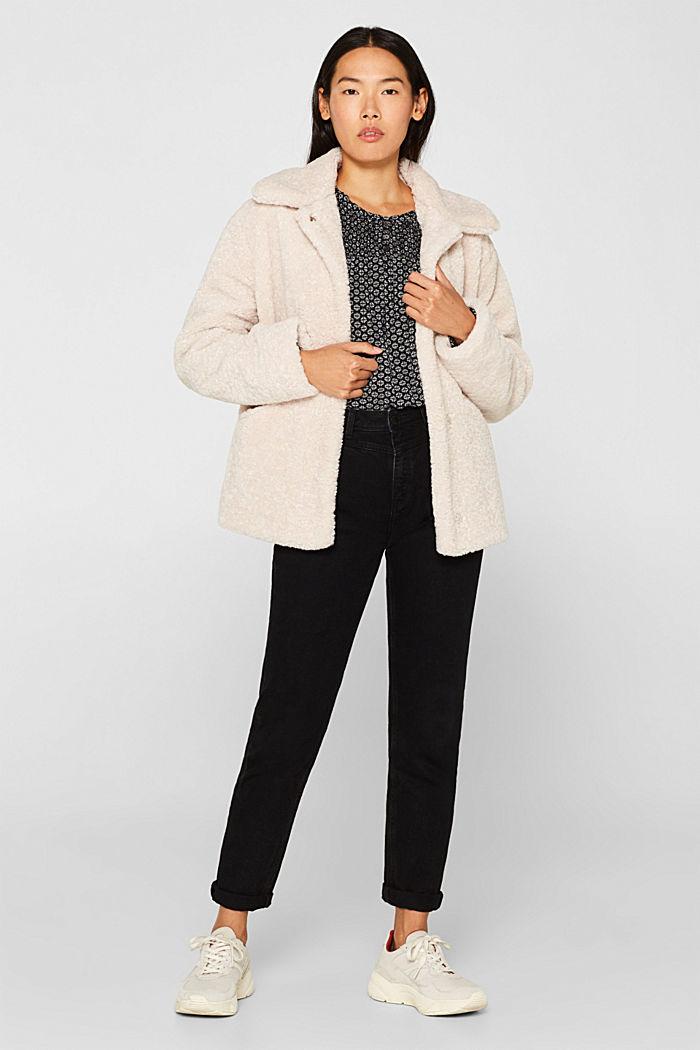 Patterned crinkle blouse, BLACK, detail image number 1