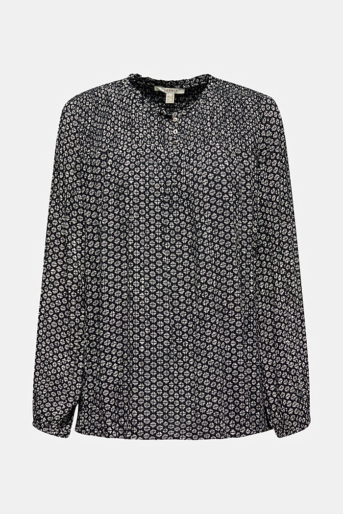 Patterned crinkle blouse, BLACK, detail image number 5
