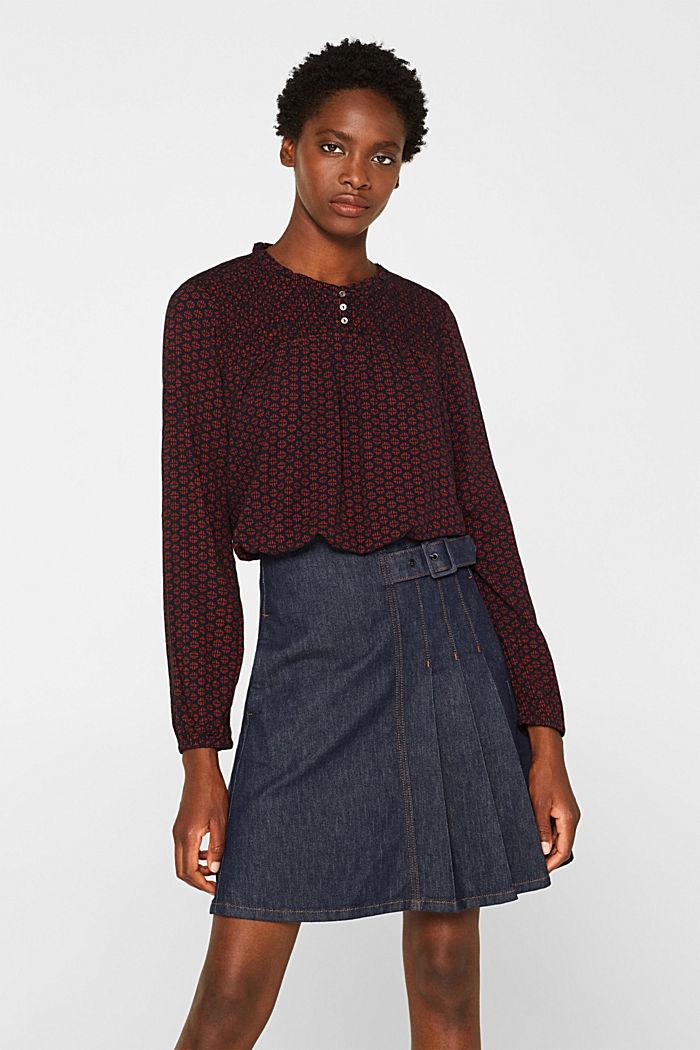 Patterned crinkle blouse, GARNET RED, detail image number 0