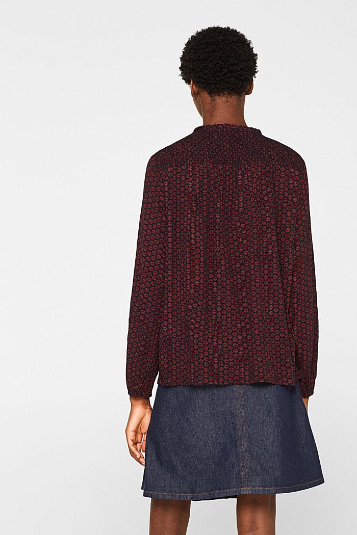 Patterned crinkle blouse, GARNET RED, detail image number 3