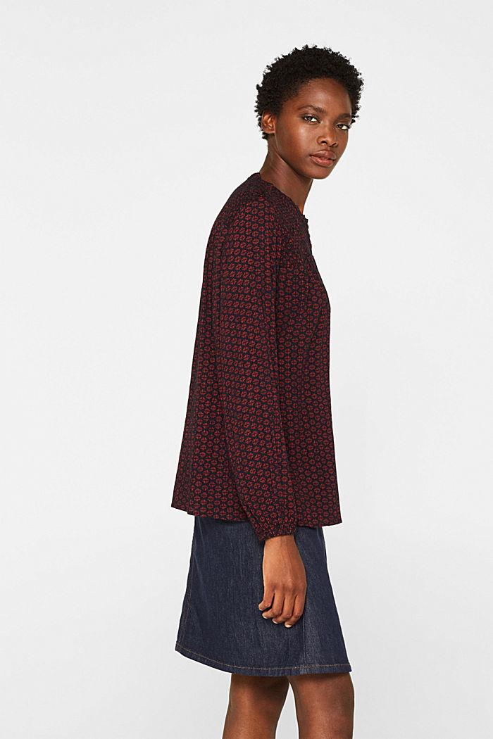 Patterned crinkle blouse, GARNET RED, detail image number 5