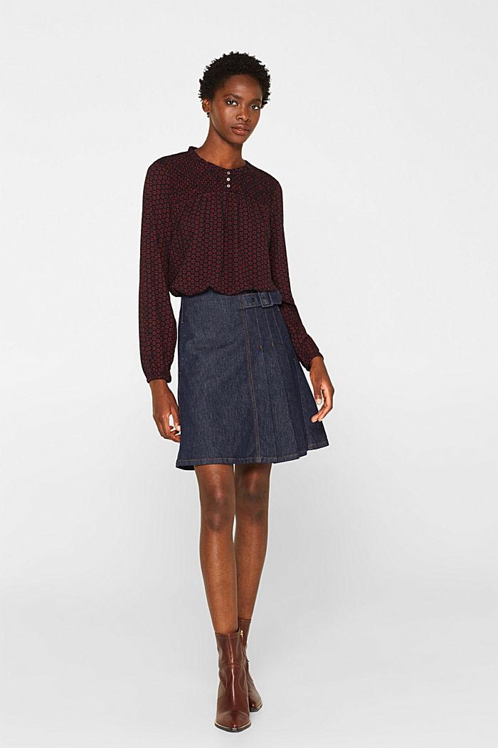 Patterned crinkle blouse, GARNET RED, detail image number 1