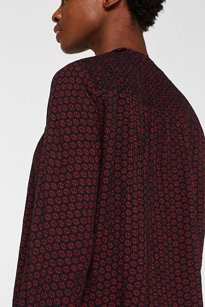 Patterned crinkle blouse, GARNET RED, detail image number 6
