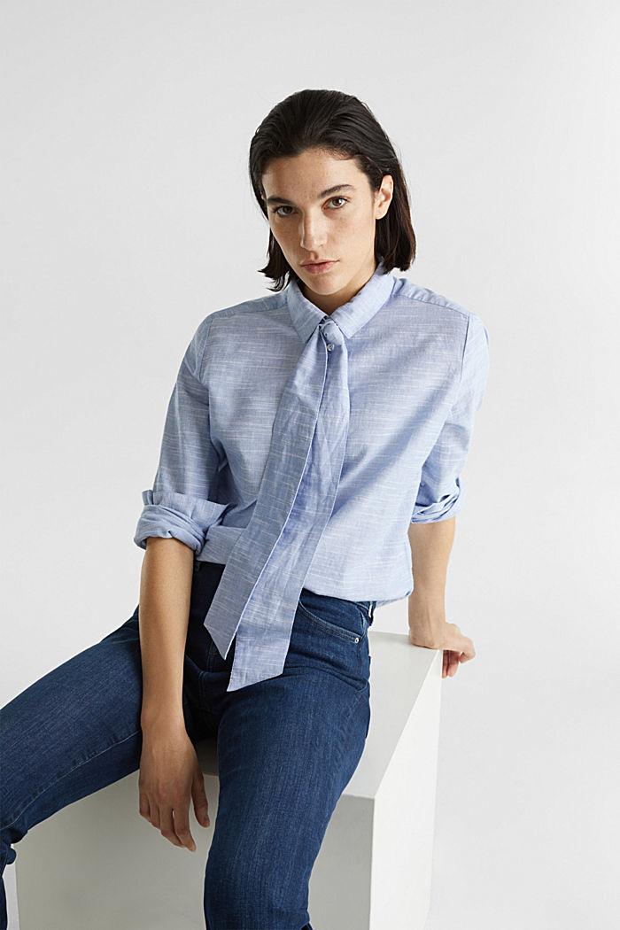 Pussycat bow blouse, 100% cotton, LIGHT BLUE, detail image number 0