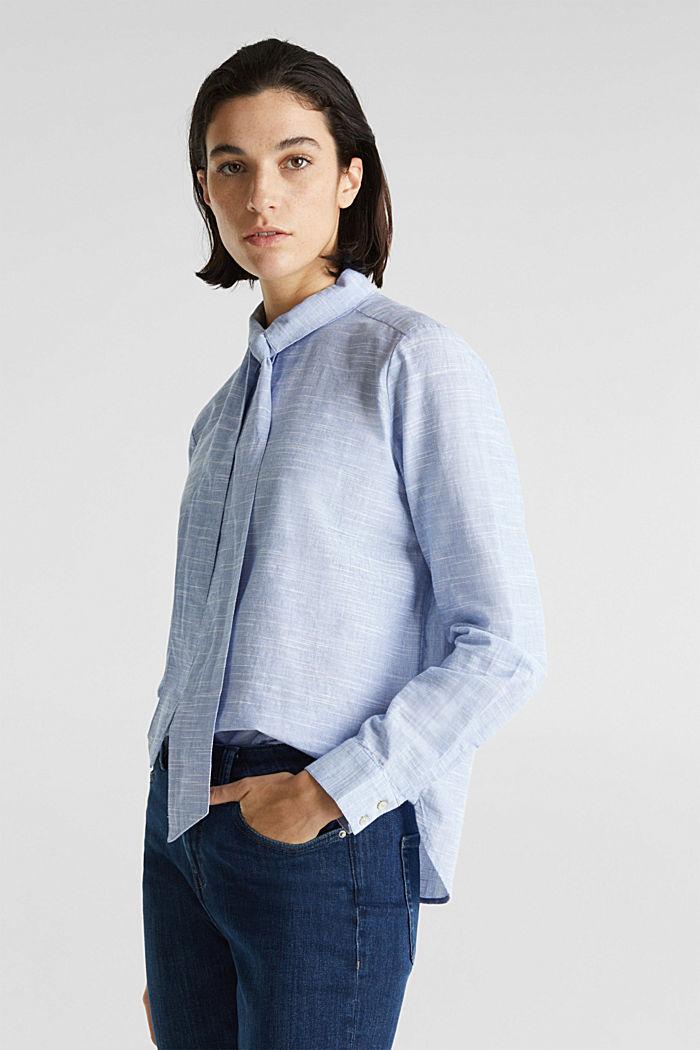 Pussycat bow blouse, 100% cotton, LIGHT BLUE, detail image number 4