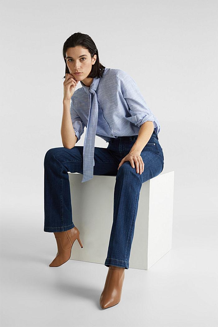 Pussycat bow blouse, 100% cotton, LIGHT BLUE, detail image number 6