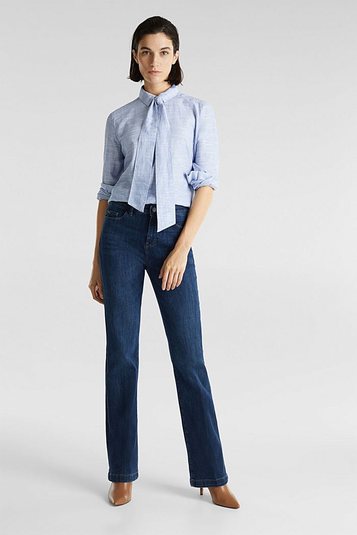 Pussycat bow blouse, 100% cotton, LIGHT BLUE, detail image number 1