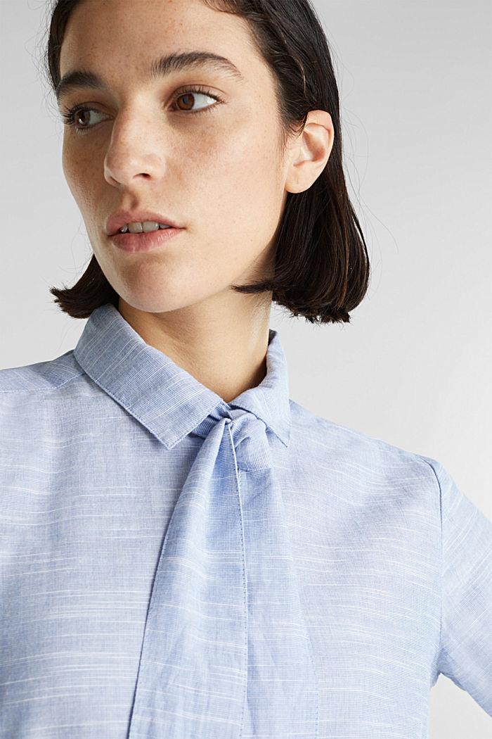 Pussycat bow blouse, 100% cotton, LIGHT BLUE, detail image number 2