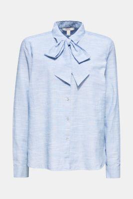 Pussycat bow blouse, 100% cotton, LIGHT BLUE, detail