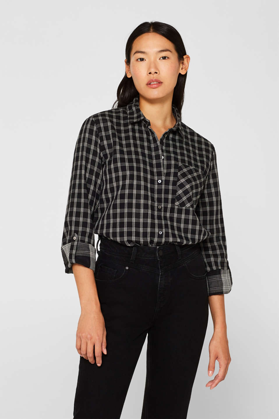 Esprit - Shirt blouse with organic cotton