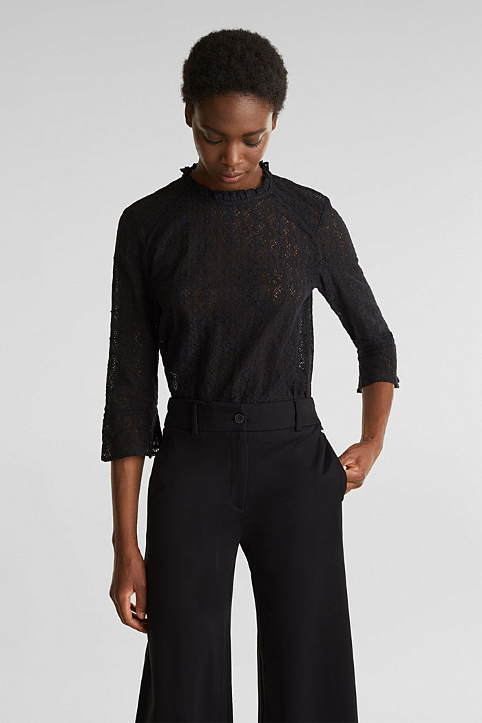 Delicate lace blouse, BLACK, detail image number 0