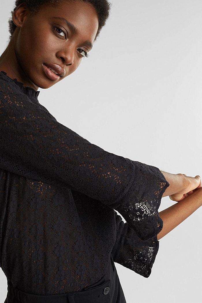 Delicate lace blouse, BLACK, detail image number 5
