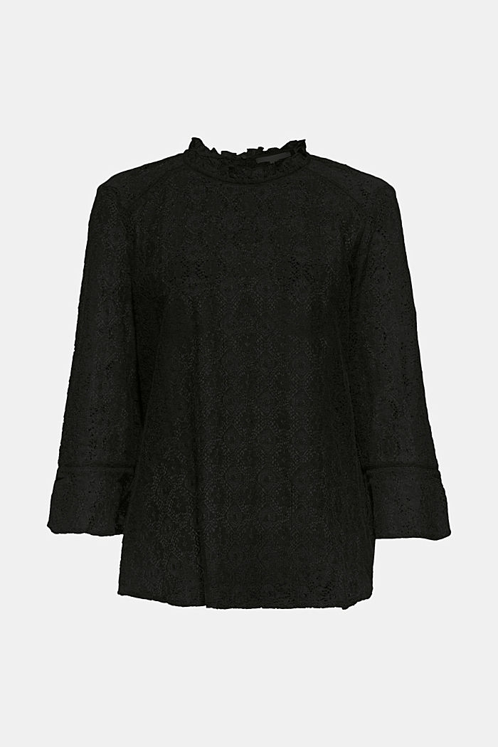 Delicate lace blouse, BLACK, detail image number 6