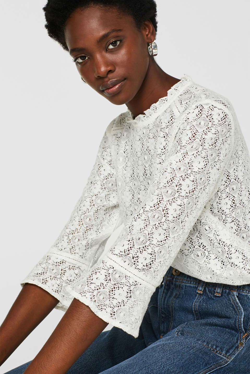 Delicate lace blouse, OFF WHITE, detail image number 0