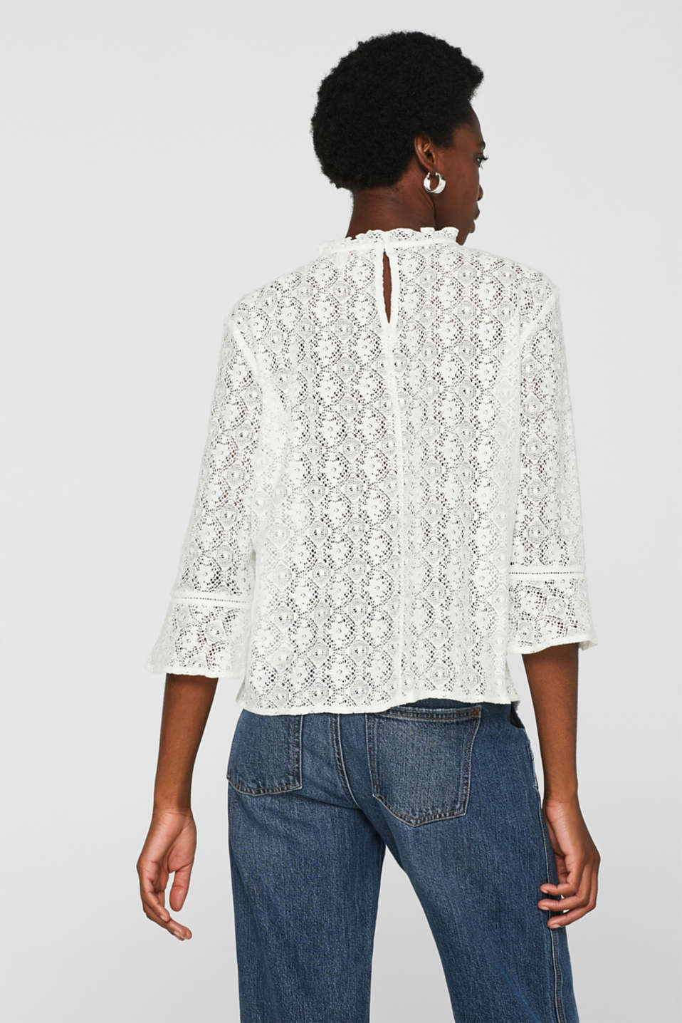 Delicate lace blouse, OFF WHITE, detail image number 3