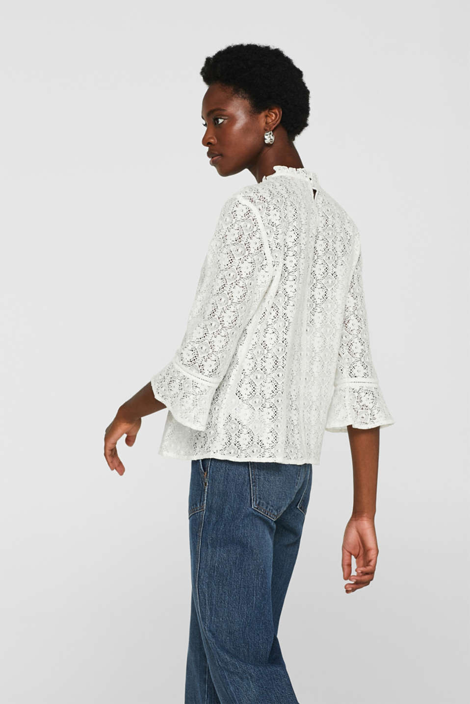 Delicate lace blouse, OFF WHITE, detail image number 5