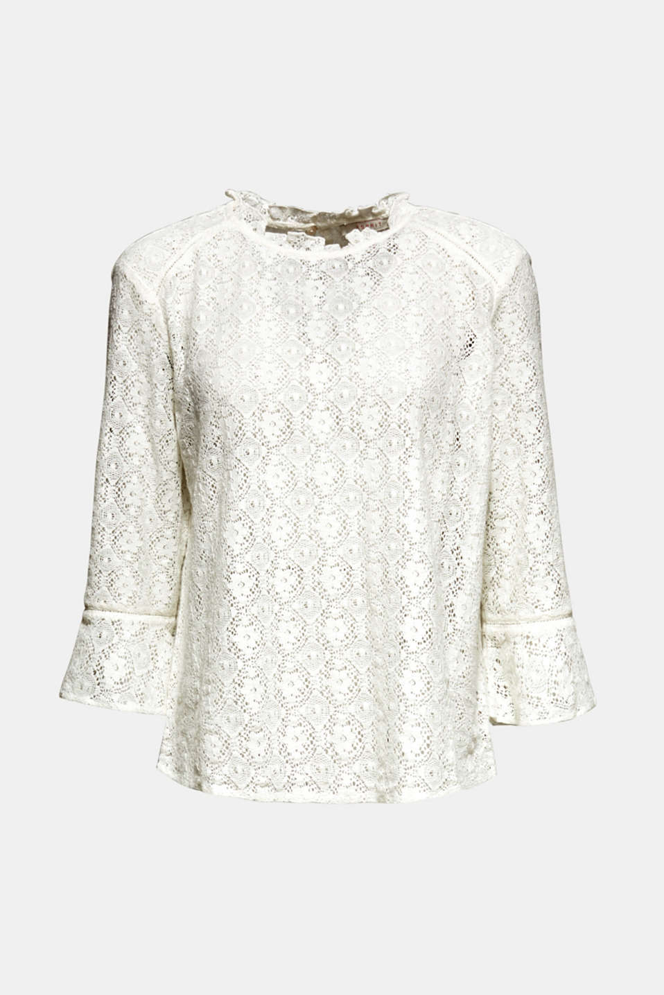 Delicate lace blouse, OFF WHITE, detail image number 6