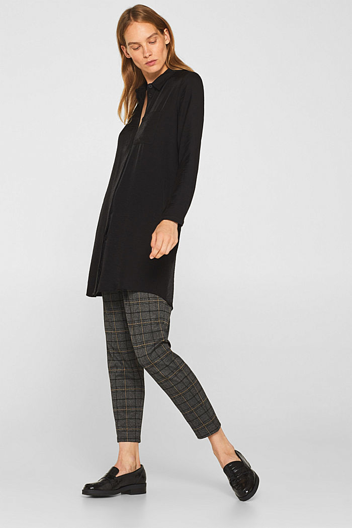 Long sleeve blouse with print, BLACK, detail image number 1