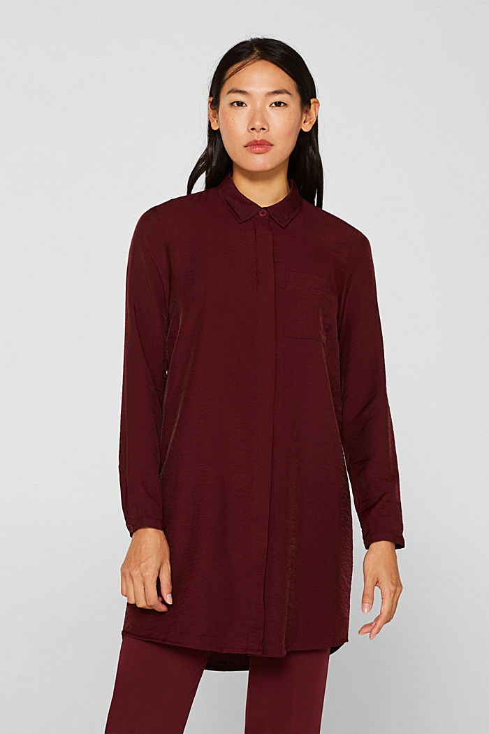 Long sleeve blouse with print, GARNET RED, detail image number 0