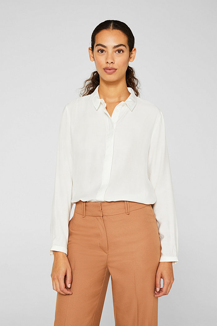 Blouse with a concealed button placket, OFF WHITE, detail image number 0