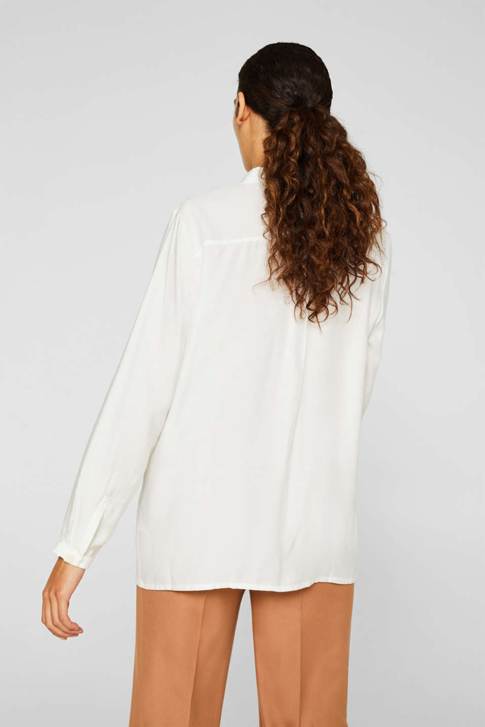 Blouse with a concealed button placket, OFF WHITE, detail image number 3