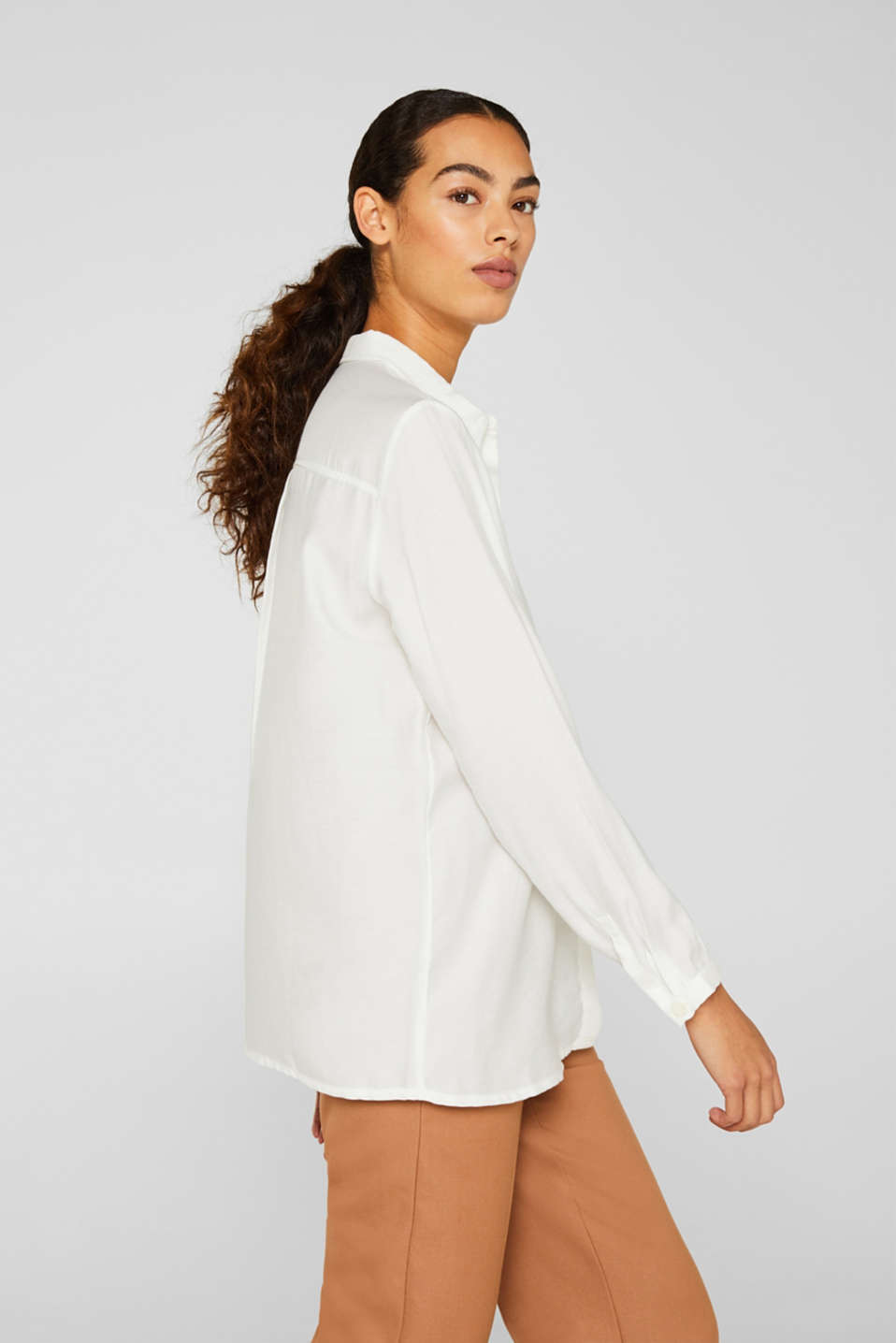 Blouse with a concealed button placket, OFF WHITE, detail image number 6