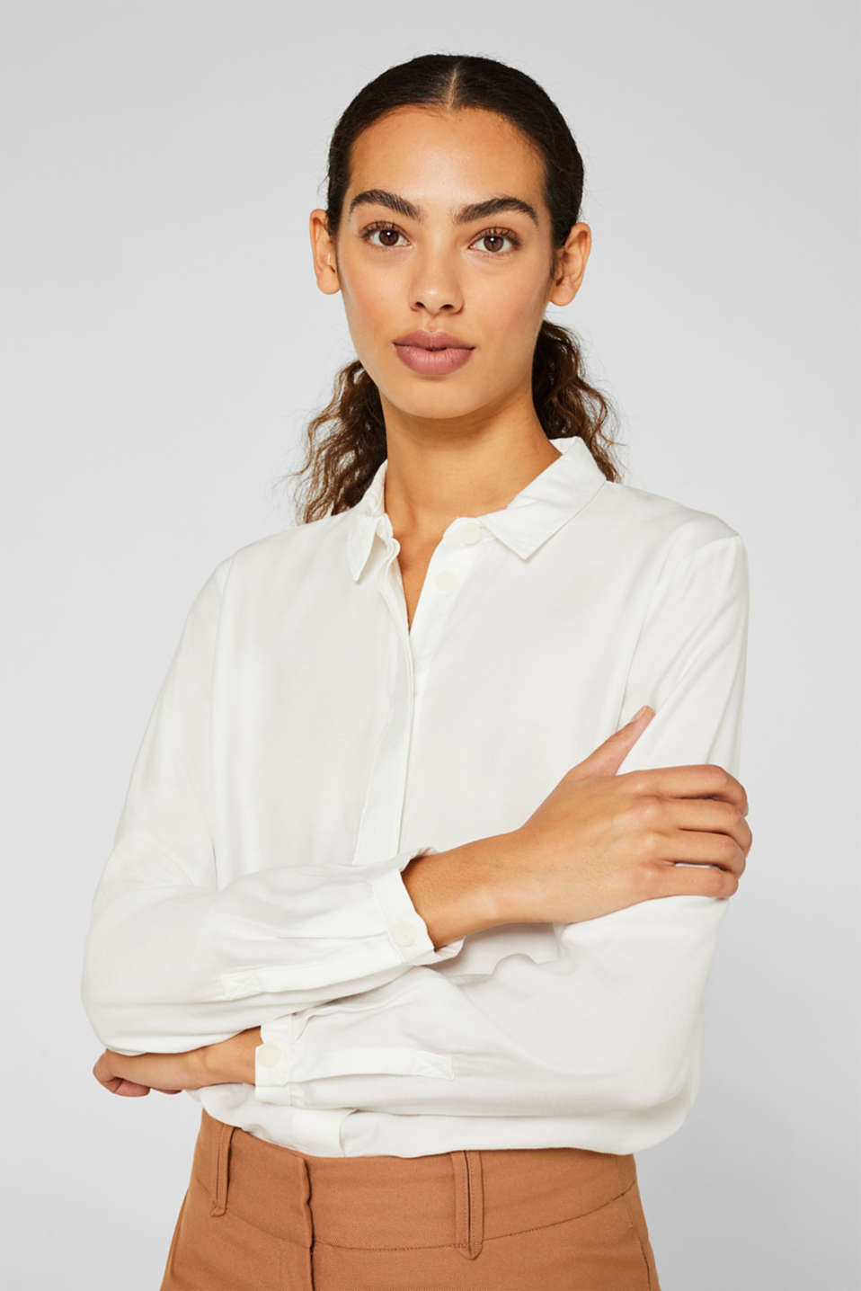 Blouse with a concealed button placket, OFF WHITE, detail image number 7