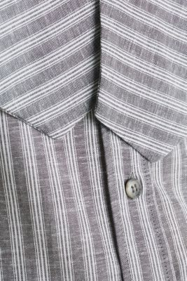 Linen blend: striped pussycat bow blouse, ANTHRACITE, detail