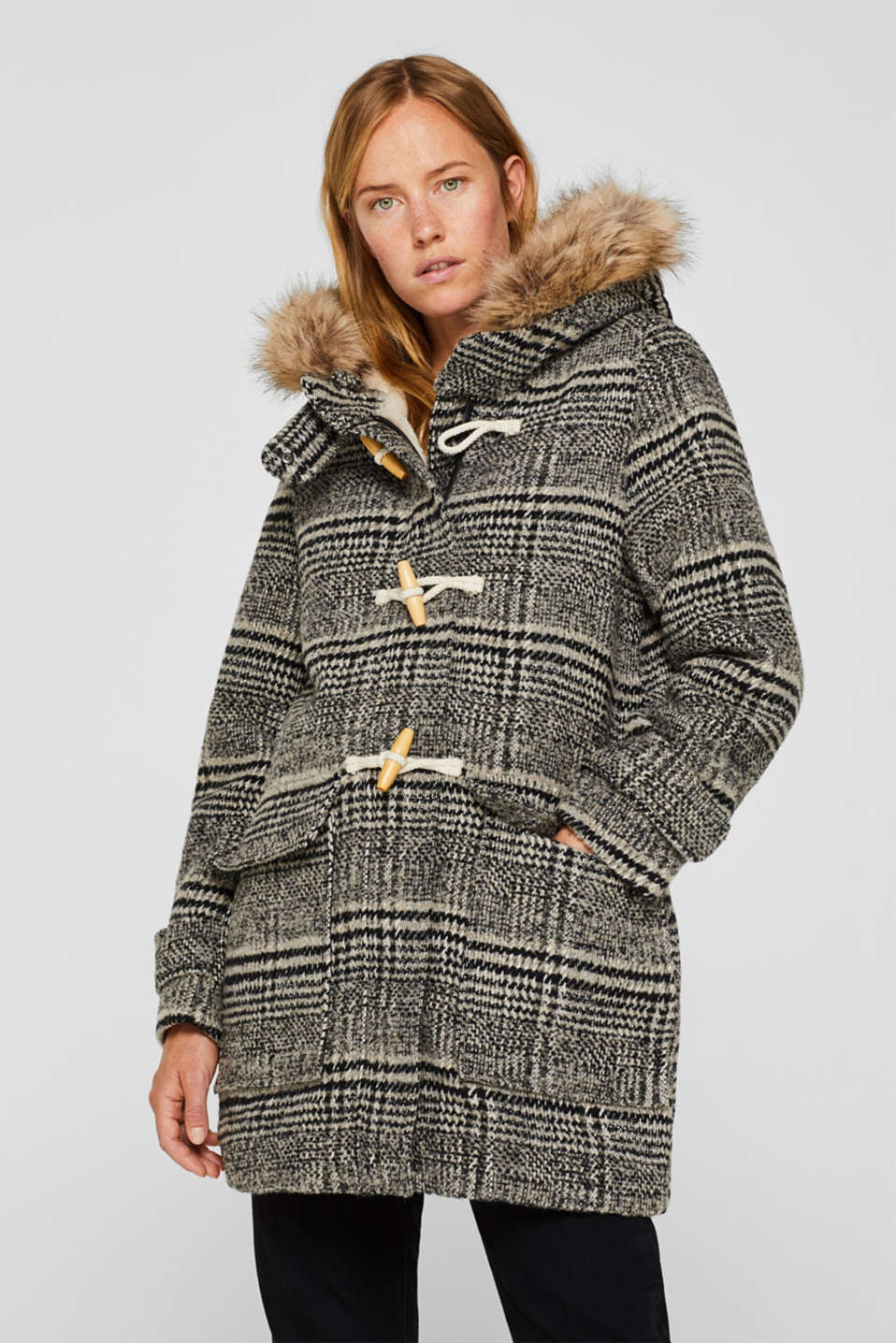 Esprit - With wool: Duffle coat with faux fur