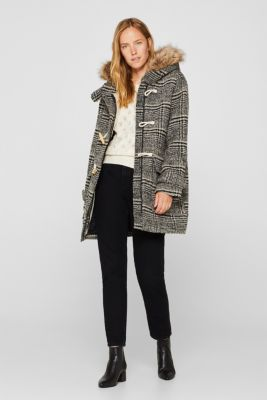 With wool: Duffle coat with faux fur, DARK GREY, detail