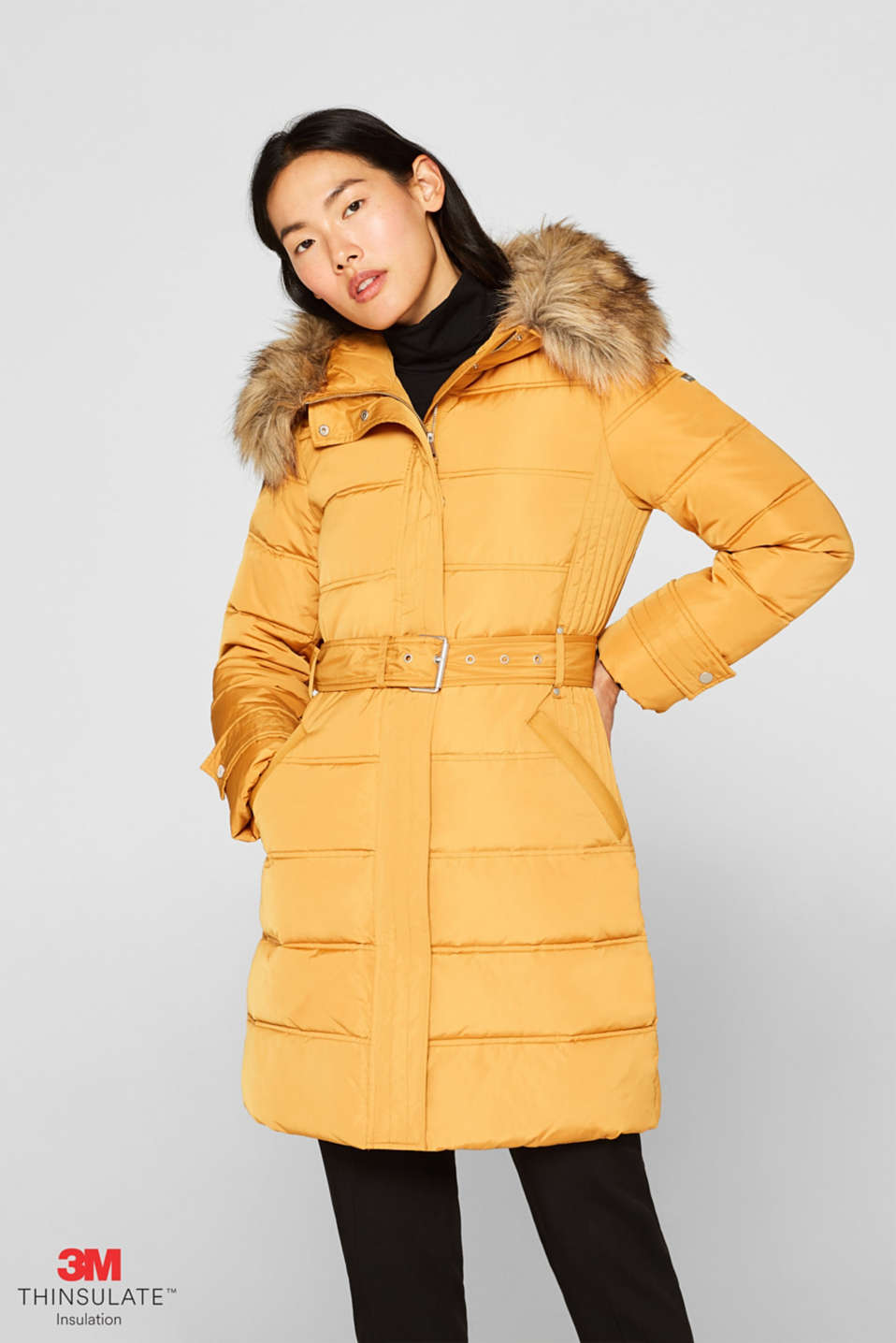 Quilted coat with 3M™ Thinsulate™ filling, AMBER YELLOW, detail image number 0