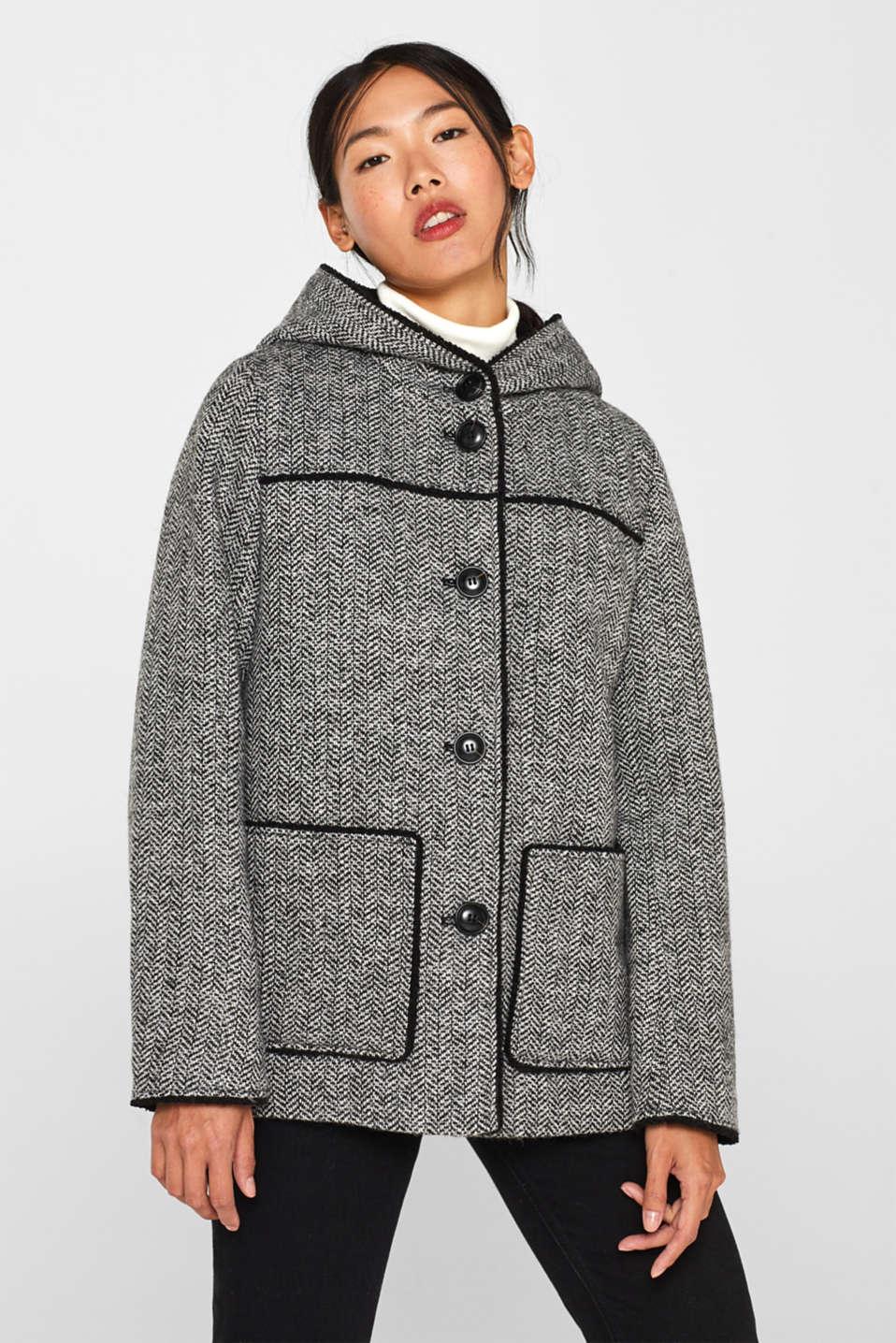 Esprit : À teneur en laine : le manteau à la texture tissée