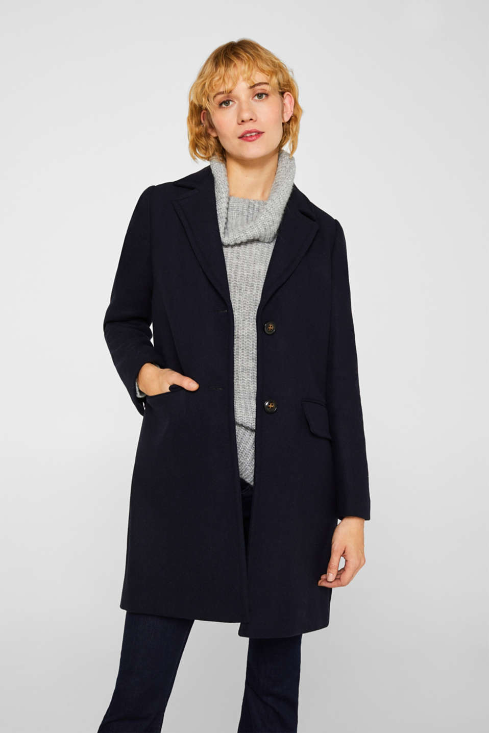 Esprit - Blazer coat with wool