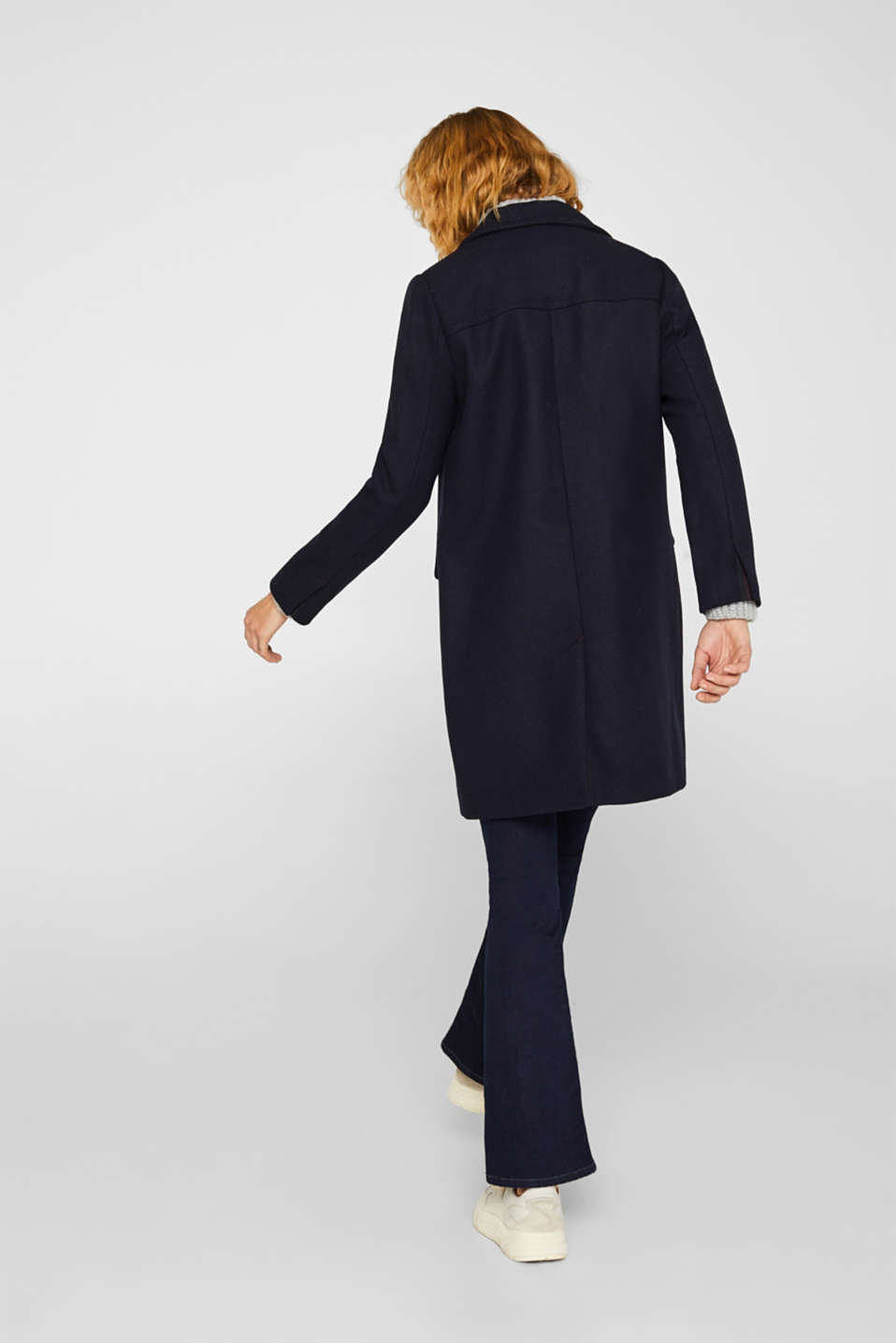 Blazer coat with wool, NAVY, detail image number 3