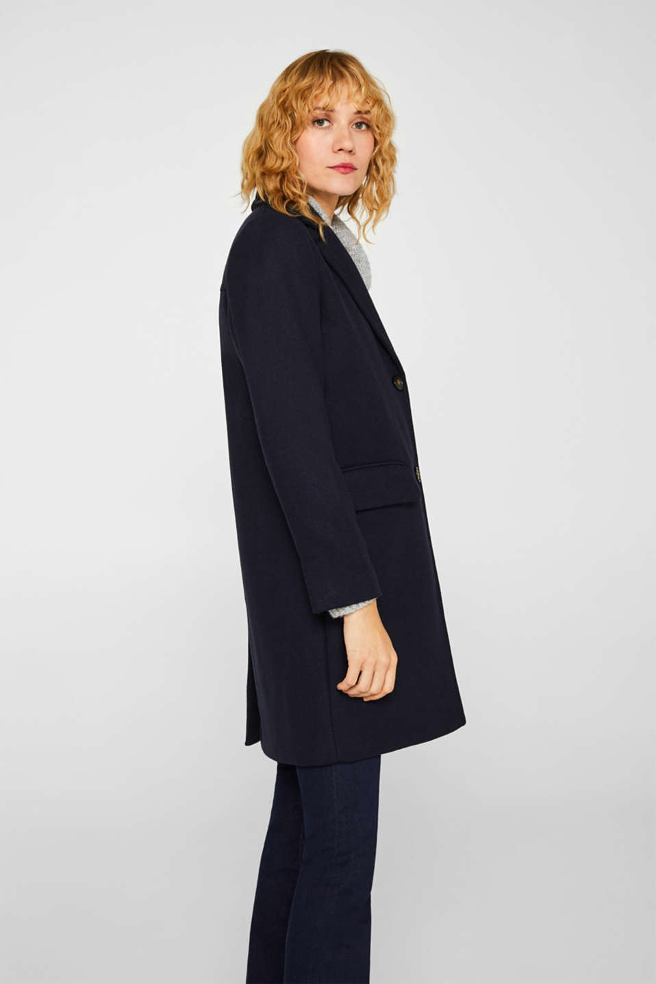 Blazer coat with wool, NAVY, detail image number 5
