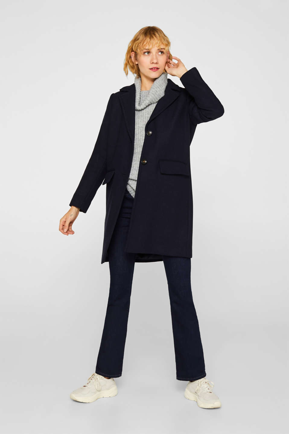 Blazer coat with wool, NAVY, detail image number 1
