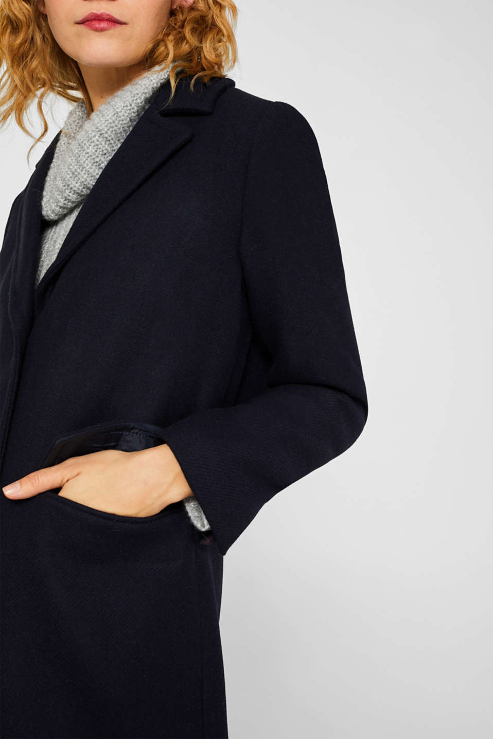 Blazer coat with wool, NAVY, detail image number 2