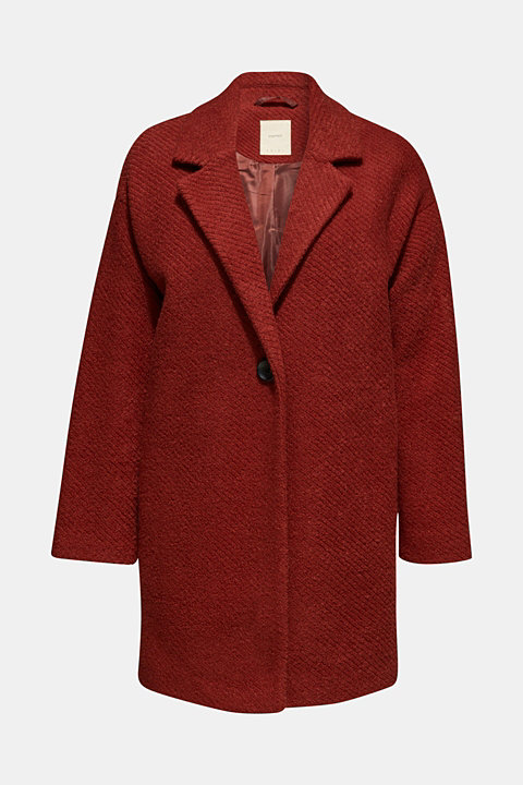Made of blended wool: coat with a ribbed texture