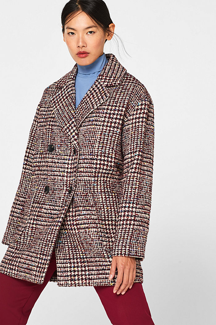 With wool: oversized check coat